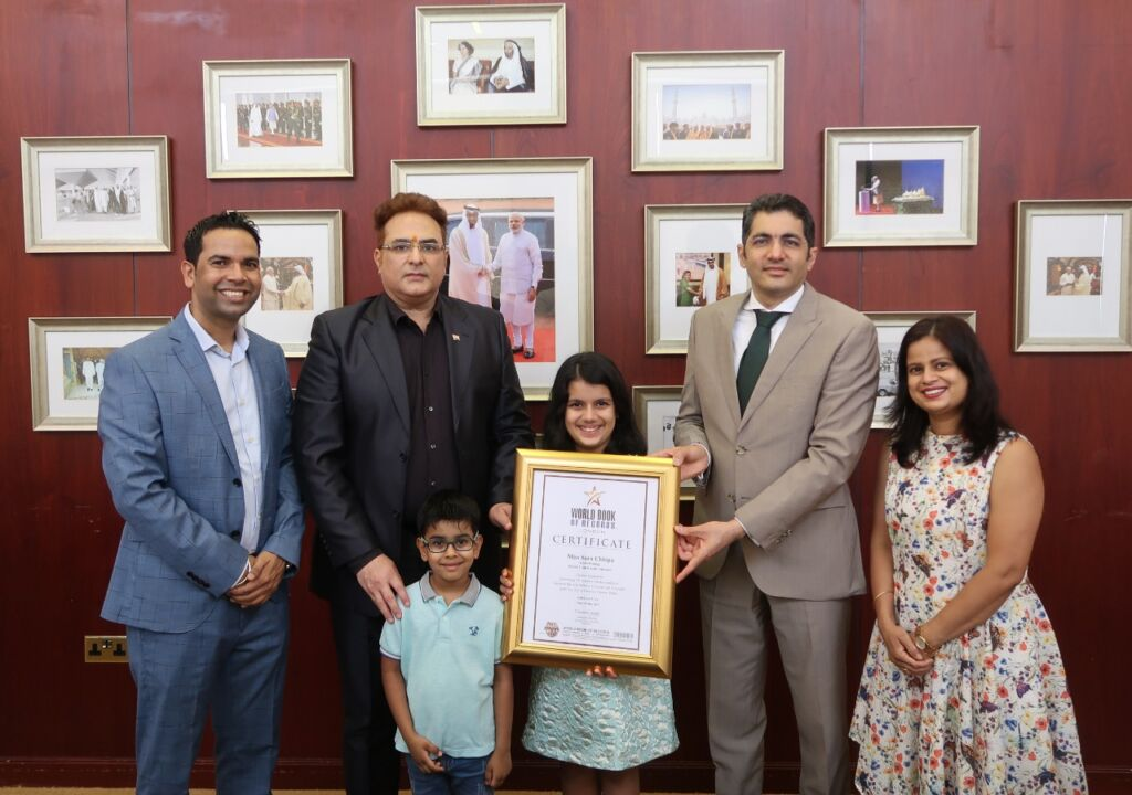 Sara Chhipa, 10-year-old, Indian, World Record Holder felicitated by the Consulate General of India in Dubai, UAE
